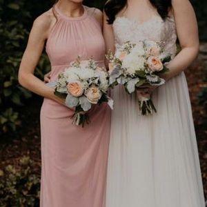 Pink chiffon high neck dress